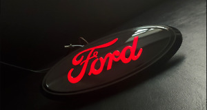 """9""""LED Black Red Light Front Grille Tailgate Badge Nameplate For FORD F150 F250"""