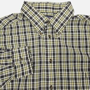 Roundtree & Yorke Yellow Black Long Sleeve Button Plaid Shirt Men's XLT XL Tall