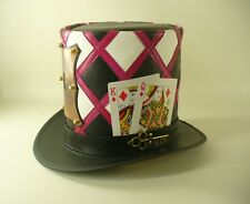 MAD HATTER'S HANDCRAFTED GENUINE LEATHER & COPPER LOCK TALL TOP HAT MASTERPIECE