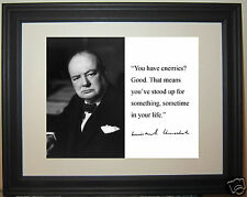 "Winston Churchill ""enemies"" Autograph Leadership Quote Framed Photo Picture"