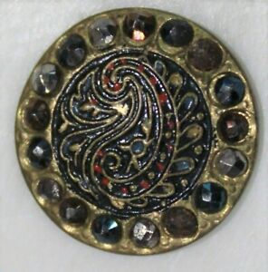 ANTIQUE Victorian Tinted Cut Steel Paisley Design Button-99 CENT START