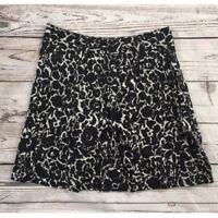 Ann Taylor Loft Skirt White Black Print Fully Lined Size 2 100% Cotton