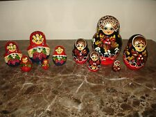 Russian Matryoshka Babushka Nesting Stacking Wooden Doll Hand Painted 2 sets