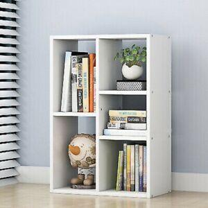 Small Bookshelf 5 Cube Storage Bookcase Display Shelving Bookshelf Office White