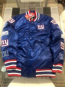 New Men's Ultra Game NFL New York Giants Satin Varsity Bomber Jacket Medium M