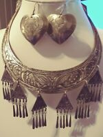 1970's Etruscan Egyptian Revival Metal Choker/Necklace/Embossed/ Silver Toned
