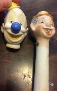 Lot Of 2 Bisque Clown Heads