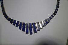 Choker Handmade 970 Taxco Mexico Estate Lazuli Lapis Sterling Necklace Silver