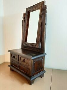 ANTIQUE VINTAGE OLD WOODEN MIRROR FRAME WITH DRAWER TABLE STAND
