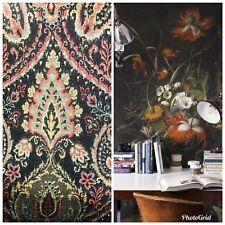 Designer Velvet Chenille Burnout Fabric - Black With Muted Multi Colors
