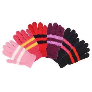 Women Magic Glove Fuzzy Winter Knit Puffy Hiking Stripe Fashion Ski Warm Snow