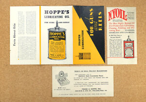 2 Vintage 1930s Hoppe's Lubricating Oil Brochures from Co Archives & Nyoil Flyer