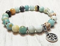 Mala Buddhism Stretchy cuff Wrist 8mm Natural amazonite Stone Bracelets Sutra