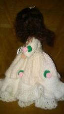 "Vintage Plastic 12"" Baby Doll; Knitted/ Crocheted Dress with Rose Accents"