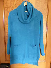 Ladies PAPAYA Turquoise Long Cowl Neck Jumper - Size 8