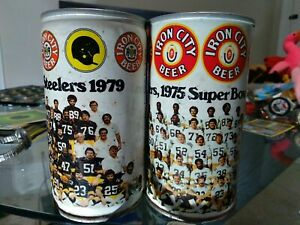 IRON CITY STEELERS 1975 & 1979 SUPER BOWL BEER CANS 16 oz Empty