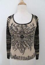 FUZZI printed mesh scoop neck top S sequin trim black beige