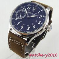 44mm Sterile Schwarz dial Armbanduhren 6497 Handaufzug movement Uhr men's Watch