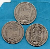 1890 1891 & 1892 VICTORIAN SILVER SHILLING COINS. 3 x VICTORIA JUBILEE HEAD 1/-.