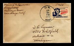 DR JIM STAMPS US FREE FRANK CINDERELLA FRANKED NAVAL COVER WWII 1943 WAVES