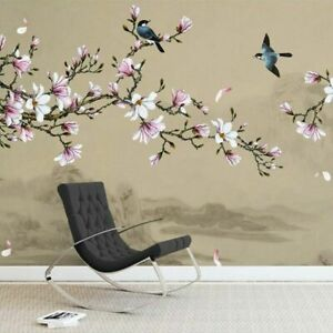 3D Magnolia Flower Tree Birds Wall Mural Wallpaper Living Room Bedroom Lounge