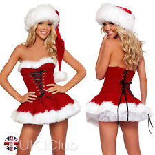 Womens Ladies Miss Claus Costumes Christmas Party Fancy Dress Outfit Red 8-12