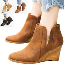 Womens Ankle Wedge Boots Ladies Winter Casual Zip Comfy Heel Warm Work Shoes