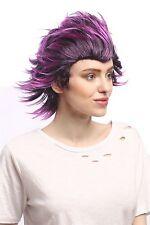 Perruque femme homme Halloween Cosplay fou court toupiert noir violet mèches