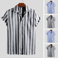 INCERUN Men's Summer Short Sleeve Shirts Beach Striped Linen Cotton Blouse Tops