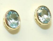 9CT REAL AQUA BLUE TOPAZ EARRINGS LADIES STUD 9 CARAT YELLOW GOLD