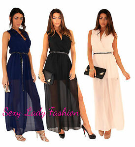 Womens Wrap Party Evening Cocktail Prom Chiffon Long Maxi Dress size 8 10 12 14