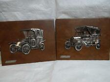 Renault mod 1914 Ford mod T 1908 3D On Leather Wall Plaques made in Spain 2 Set