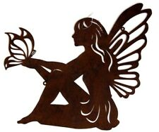 44cms Enchanted rustic Fairy silhouette wall art metal patina outdoor decor