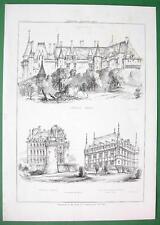 ARCHITECTURE PRINT : Renaissance Castles France Langeais and Azey le Rideau