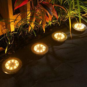 8-Bulb Solar LED Power Ground Lights Floor Decking Outdoor Garden Lawn Path Lamp