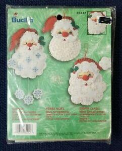 Bucilla Snowman SANTA FACES Mini ORNAMENTS Pins Magnets Christmas Kit 84442 NEW