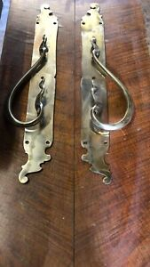 "Large Pair Of Polished Brass Pull Handles (24"")"