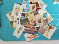 Vintage Lot Of 23 Ephemera Cards, Mail, Travel Postcards Ads Comic Covers