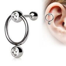 16g Double Cartilage Tragus Helix Ring Double Clear Gem Captive Bead Ring