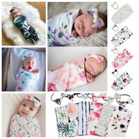 Newborn Baby Infant Floral Swaddle Sleeping Bag Sack Wrap Headband Set Photoprop