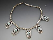 """Necklace Artisan Vintage Pierced Thunderbird Turquoise Chip Inlay Sterling 15"""""""