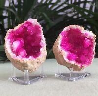 Pink Geode Pair Crystal Quartz Gemstone Specimen Dyed Morocco Split Geode Stands