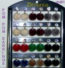 Hot Fashion Colours Fur Ball Pom Pom Rhinestone,Zirconia Stud Drop Earrings NEW