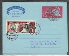 Talyllyn Railway 11d stamp No. 8 used on airletter to USA as per scan