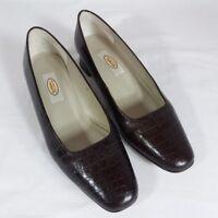 Talbots Brown Croc Embossed Leather Heels Shoes 7.5 Wide Vintage Power Pumps
