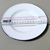 "7"" White enamel camping round dishes blue trim enamelware bowl Plates vintage"