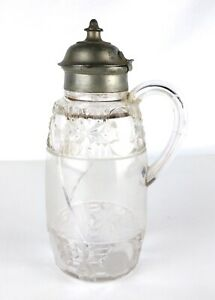 Antique Cut Glass Pitcher with Hinged Metal Lid, 1884 PAT. JAN. 29 84  OR
