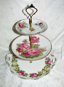 Custom Three Tier Cake Stand Made With Antique Plates Tea Party