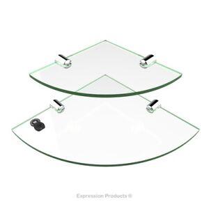 Acrylic Bathroom Corner Shelf, Kitchen Safety Shelves - 2 Pack 150mm & 200mm