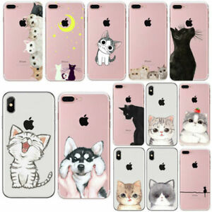 For iPhone 7 8 PLUS X 5 6 6S Cat Ultra Thin Soft Rubber Back Phone Cover Case